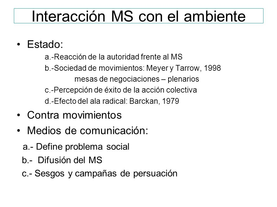 Interacción MS con el ambiente