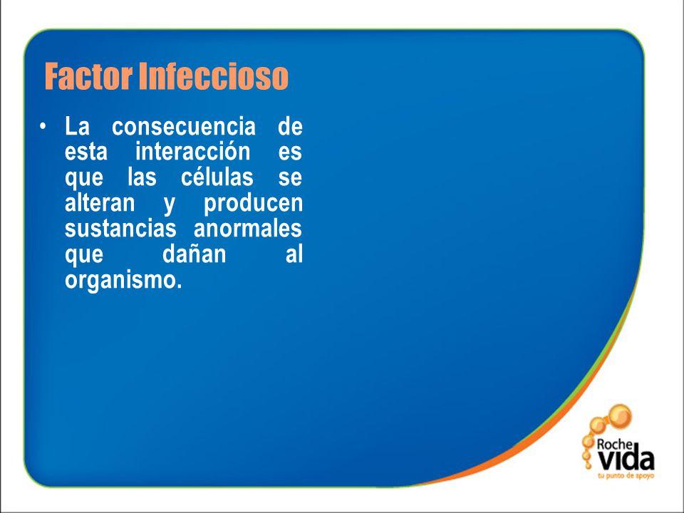 Factor Infeccioso La consecuencia de esta interacción es que las células se alteran y producen sustancias anormales que dañan al organismo.