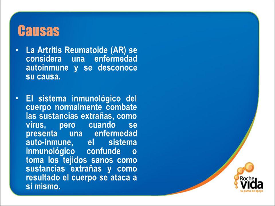 Causas La Artritis Reumatoide (AR) se considera una enfermedad autoinmune y se desconoce su causa.