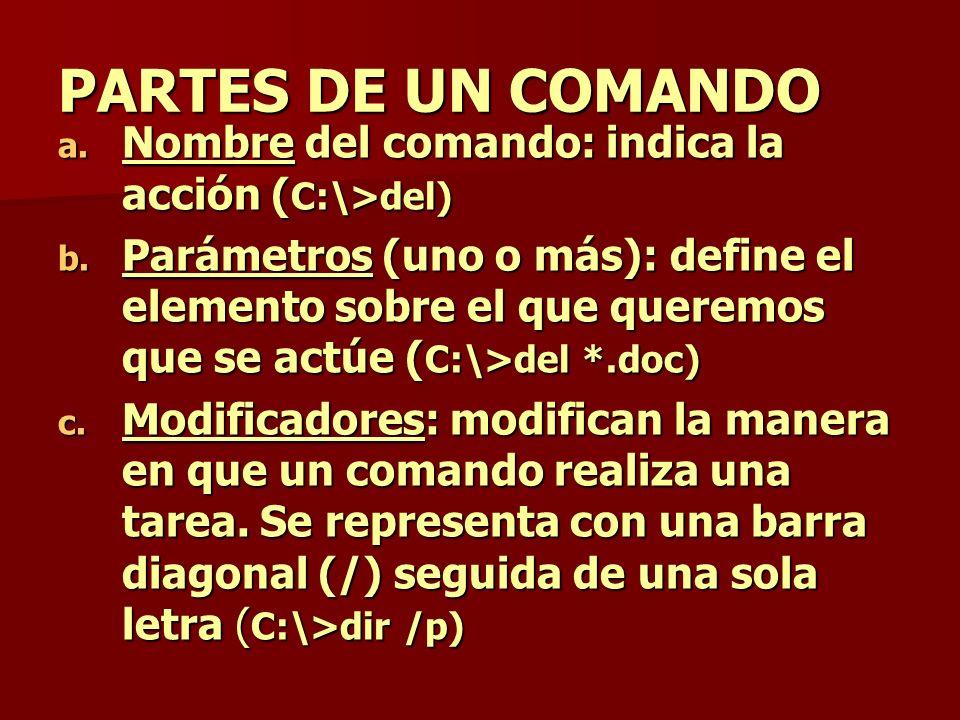 PARTES DE UN COMANDO Nombre del comando: indica la acción (C:\>del)