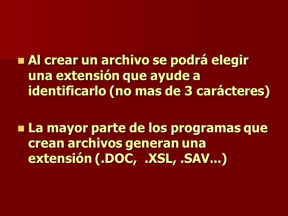 Al crear un archivo se podrá elegir una extensión que ayude a identificarlo (no mas de 3 carácteres)
