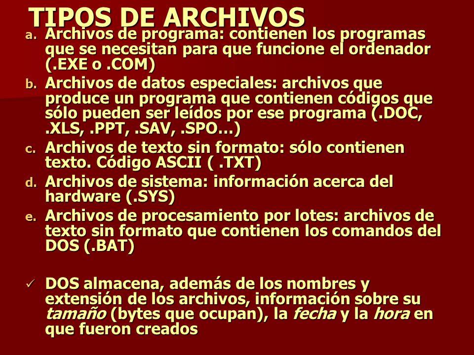 TIPOS DE ARCHIVOS Archivos de programa: contienen los programas que se necesitan para que funcione el ordenador (.EXE o .COM)