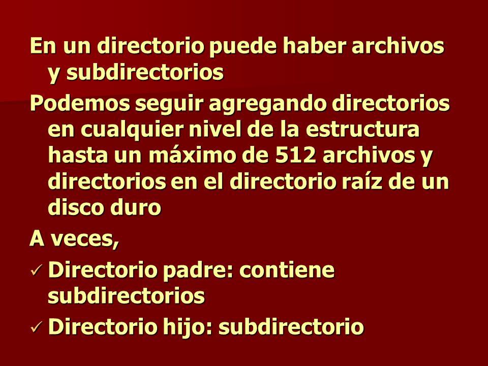 En un directorio puede haber archivos y subdirectorios