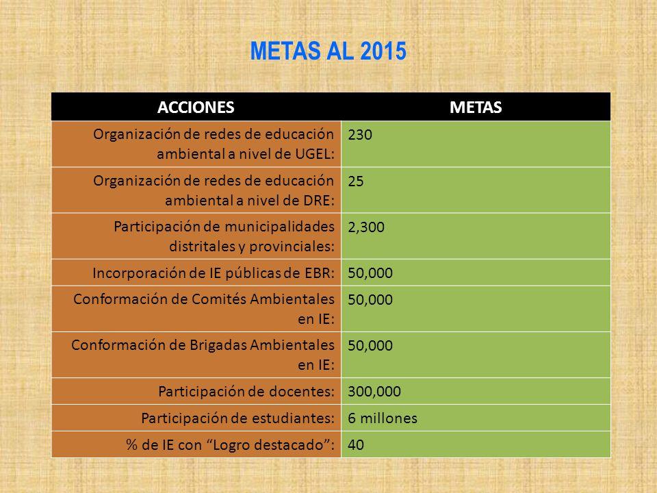 METAS AL 2015 ACCIONES METAS