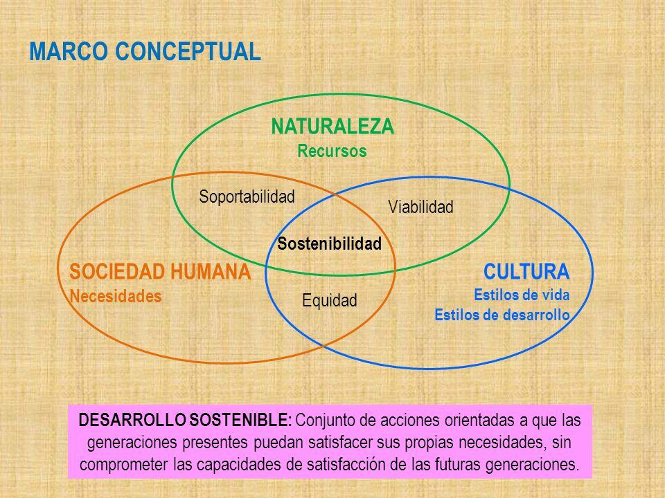 MARCO CONCEPTUAL NATURALEZA SOCIEDAD HUMANA CULTURA Recursos