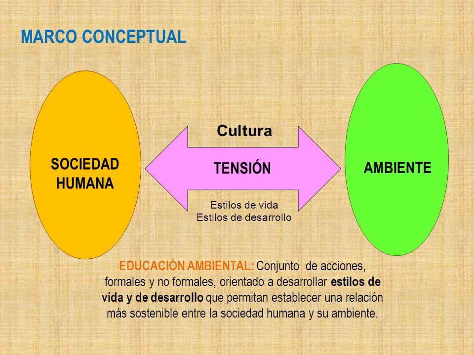 MARCO CONCEPTUAL Cultura TENSIÓN SOCIEDAD AMBIENTE HUMANA