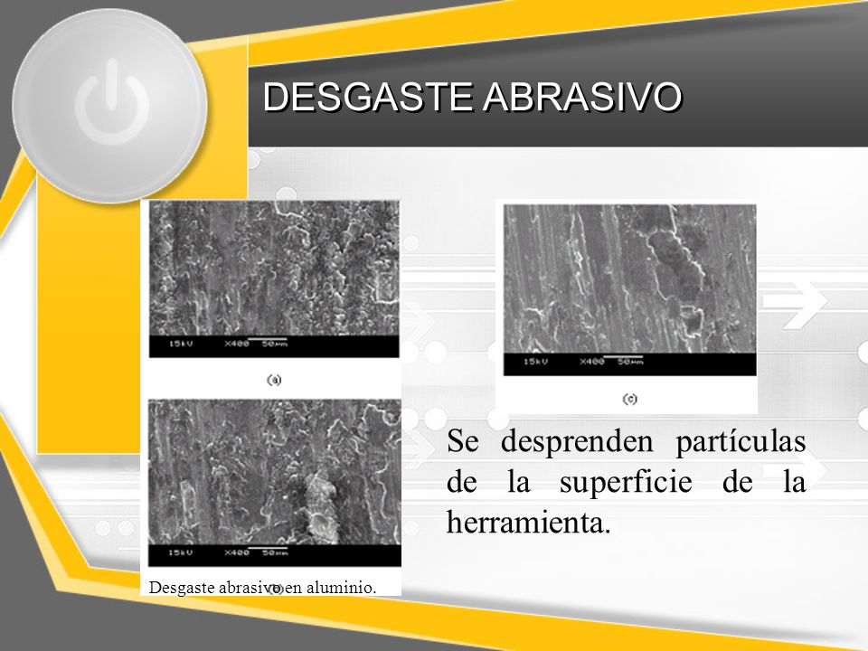 DESGASTE ABRASIVO Se desprenden partículas de la superficie de la herramienta.