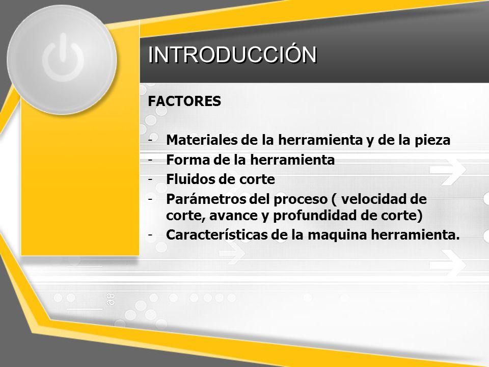 INTRODUCCIÓN FACTORES Materiales de la herramienta y de la pieza