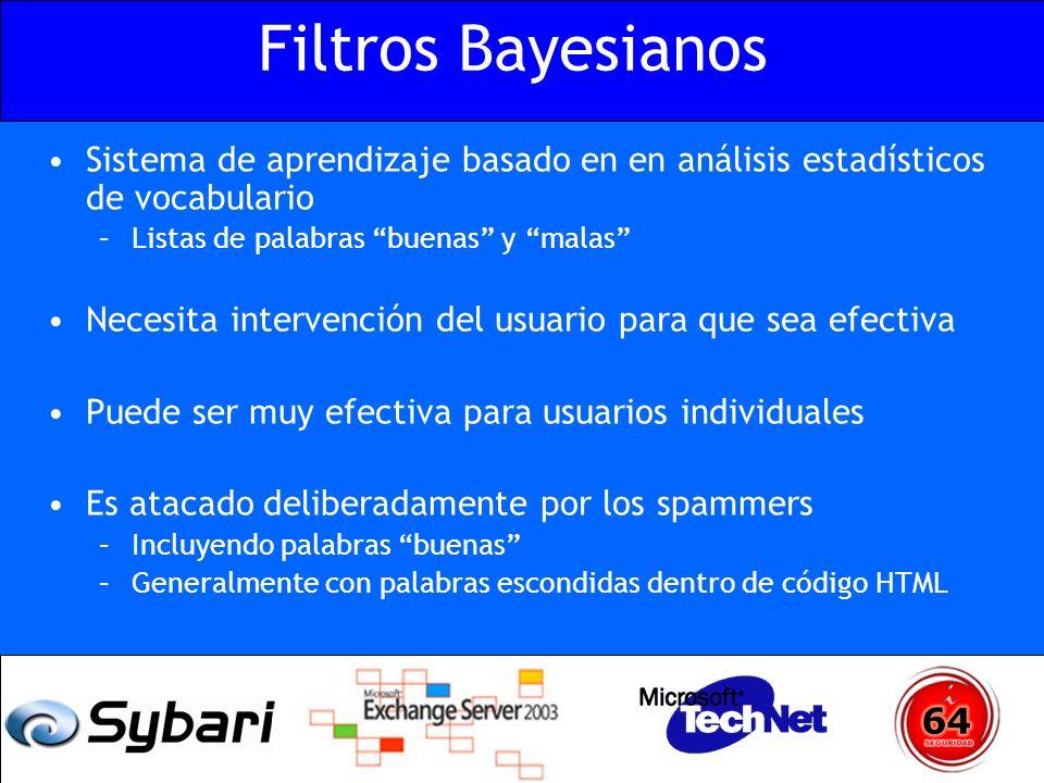 Filtros Bayesianos Sistema de aprendizaje basado en en análisis estadísticos de vocabulario. Listas de palabras buenas y malas