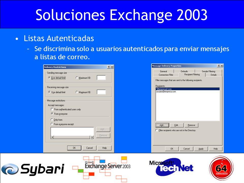 Soluciones Exchange 2003 Listas Autenticadas