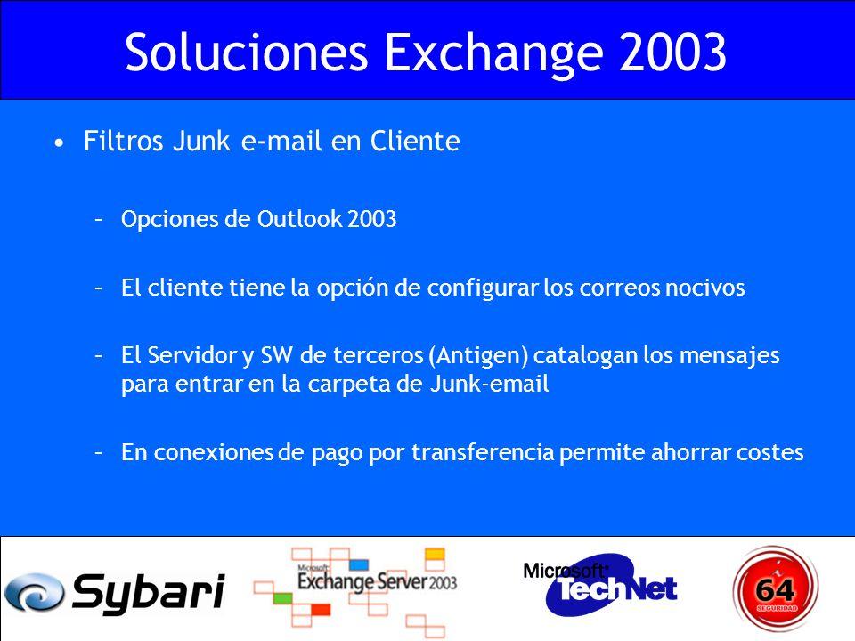 Soluciones Exchange 2003 Filtros Junk e-mail en Cliente