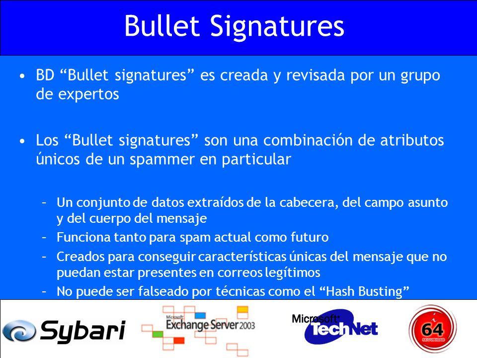 Bullet Signatures BD Bullet signatures es creada y revisada por un grupo de expertos.