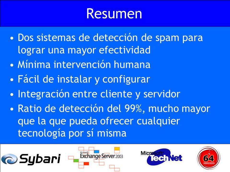 Resumen Dos sistemas de detección de spam para lograr una mayor efectividad. Mínima intervención humana.