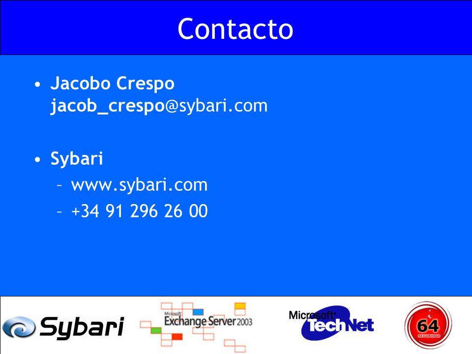 Contacto Jacobo Crespo jacob_crespo@sybari.com Sybari www.sybari.com