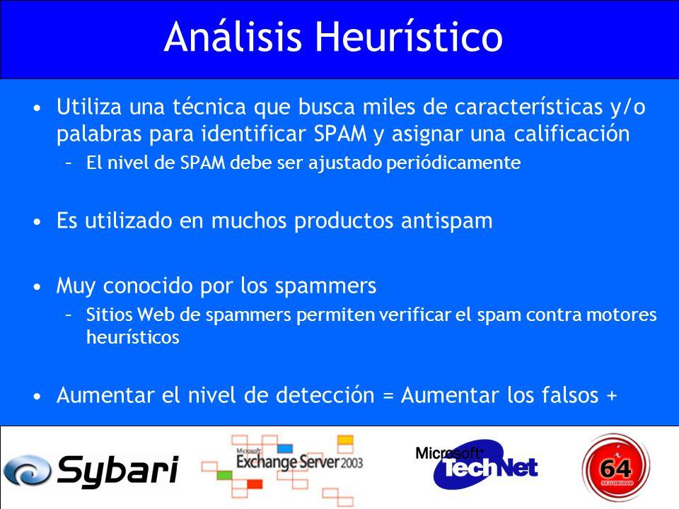 Análisis Heurístico Utiliza una técnica que busca miles de características y/o palabras para identificar SPAM y asignar una calificación.