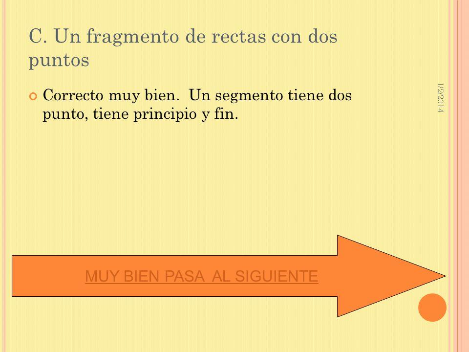 C. Un fragmento de rectas con dos puntos