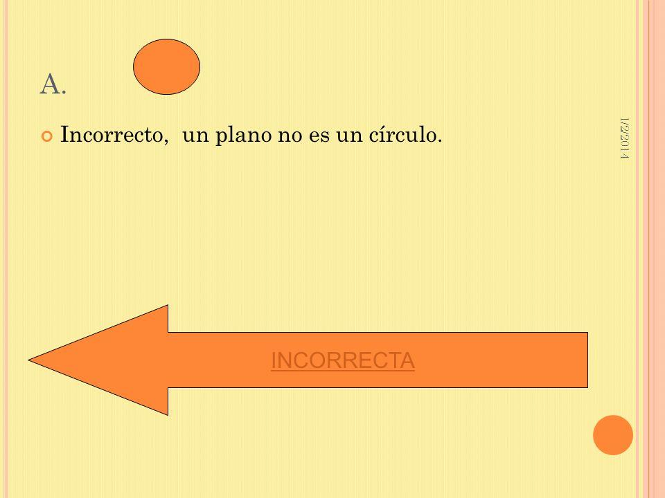 A. 3/23/2017 Incorrecto, un plano no es un círculo. INCORRECTA