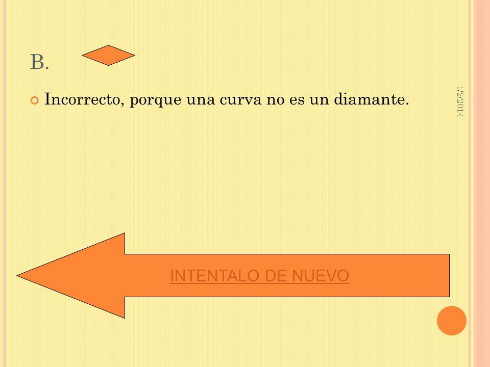B. Incorrecto, porque una curva no es un diamante. INTENTALO DE NUEVO