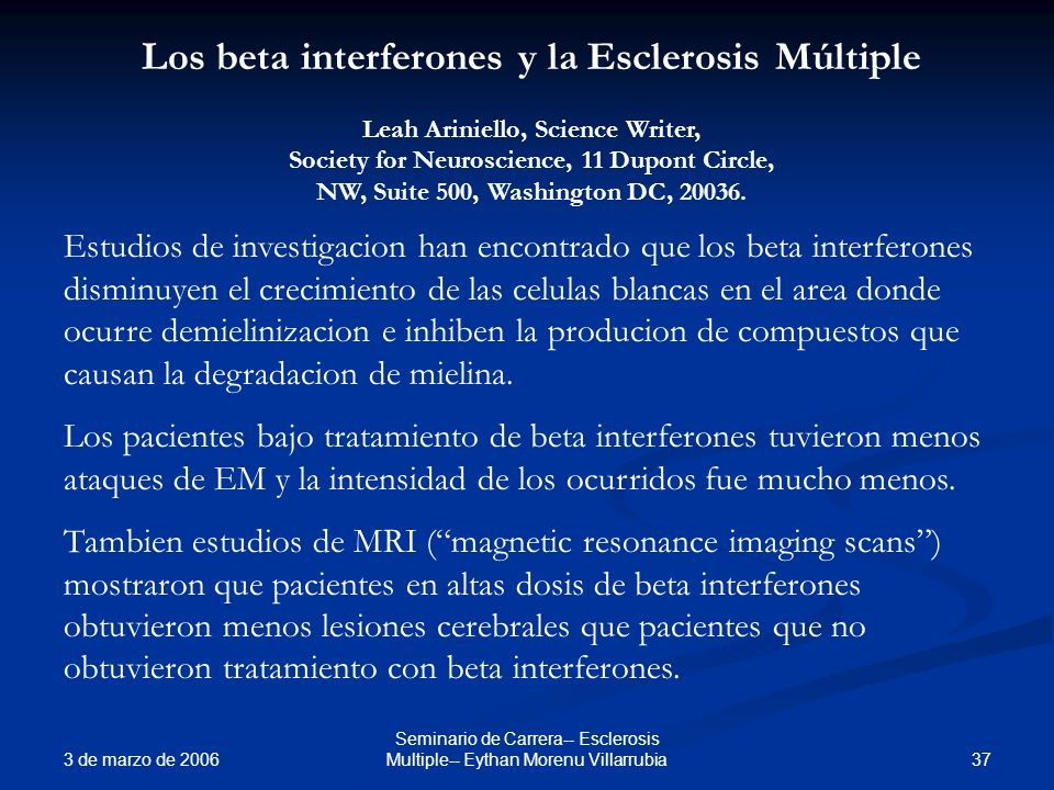 Los beta interferones y la Esclerosis Múltiple