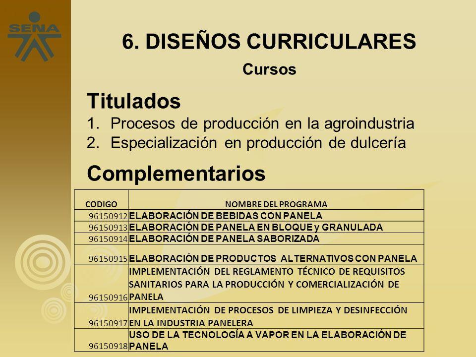 6. DISEÑOS CURRICULARES Titulados Complementarios Cursos