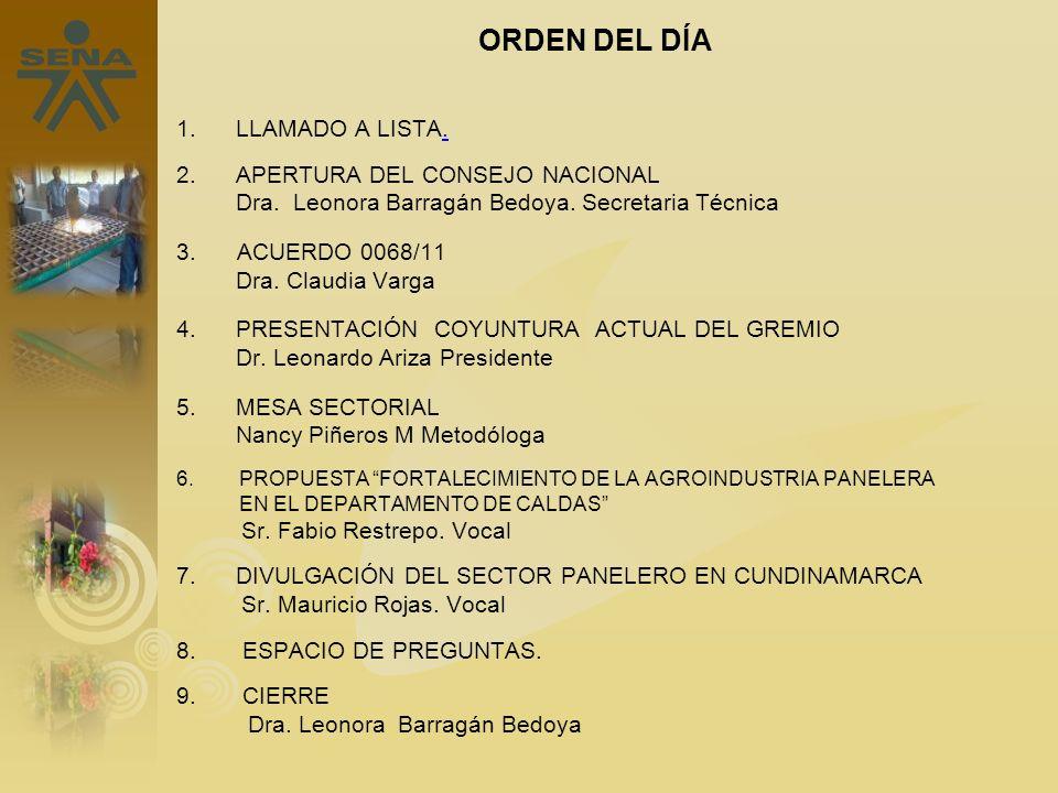 ORDEN DEL DÍA LLAMADO A LISTA. 2. APERTURA DEL CONSEJO NACIONAL