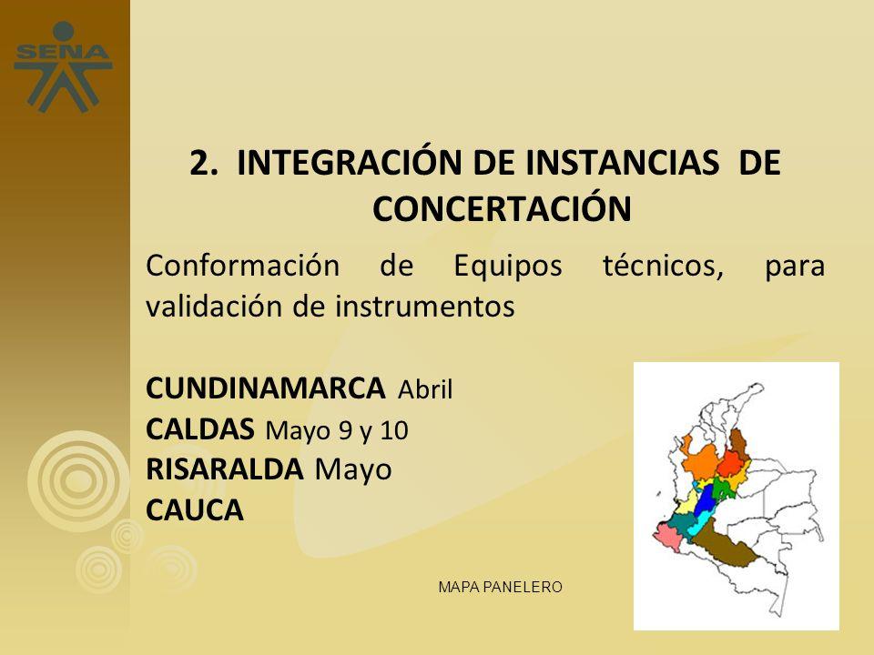 2. INTEGRACIÓN DE INSTANCIAS DE CONCERTACIÓN