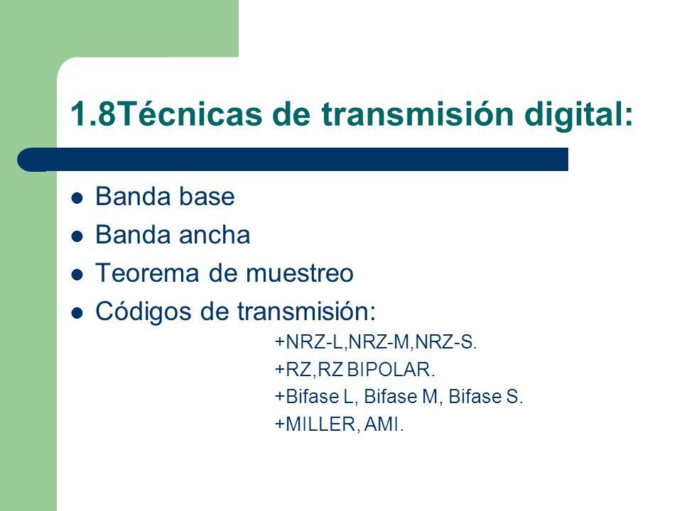 1.8Técnicas de transmisión digital: