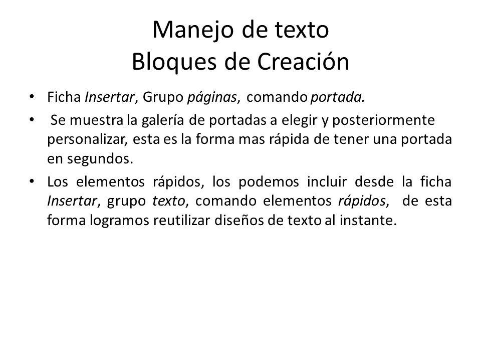 Manejo de texto Bloques de Creación