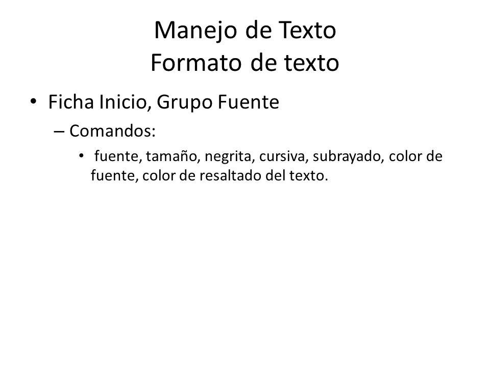 Manejo de Texto Formato de texto