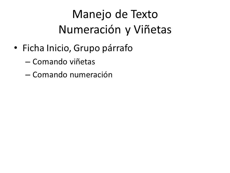 Manejo de Texto Numeración y Viñetas