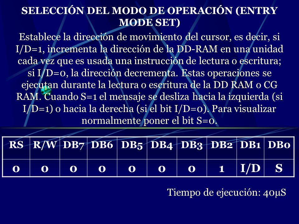 SELECCIÓN DEL MODO DE OPERACIÓN (ENTRY MODE SET)