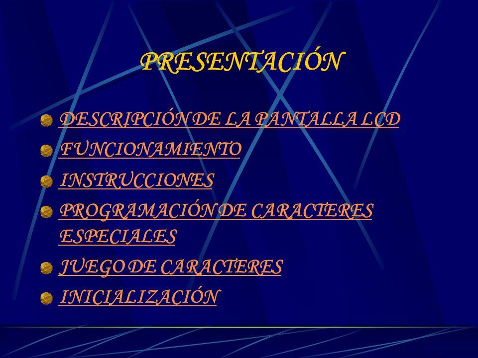 PRESENTACIÓN DESCRIPCIÓN DE LA PANTALLA LCD FUNCIONAMIENTO