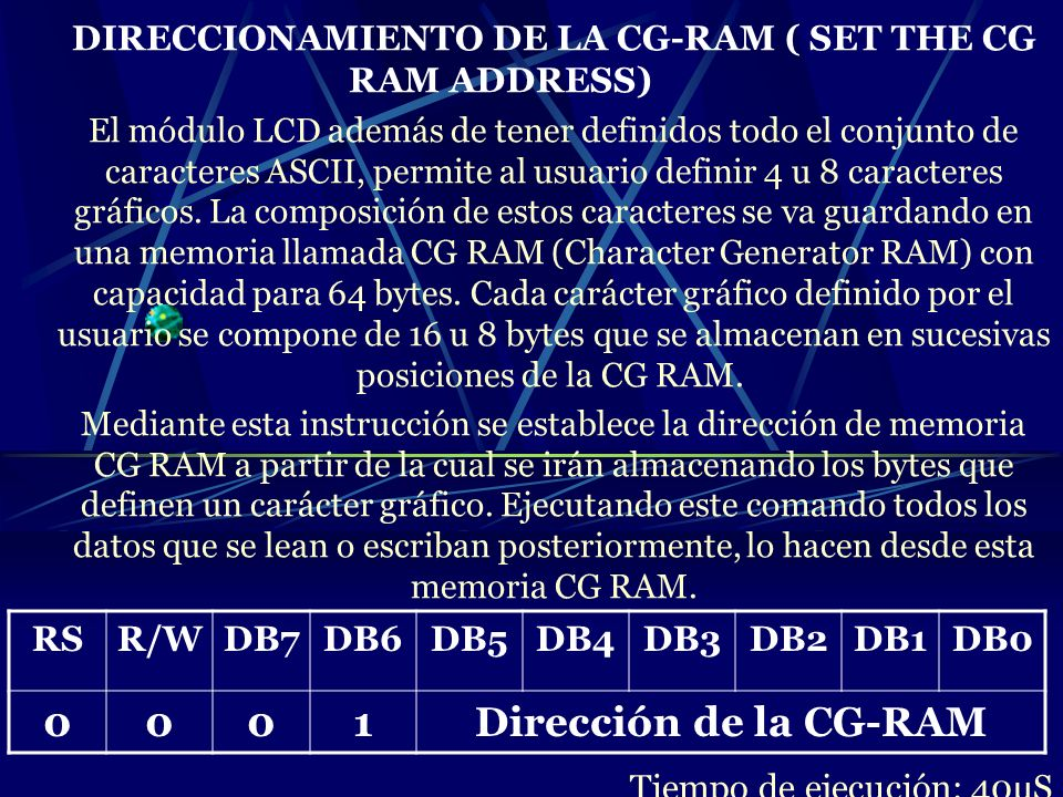 DIRECCIONAMIENTO DE LA CG-RAM ( SET THE CG RAM ADDRESS)