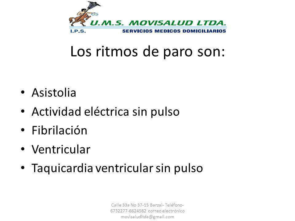 Los ritmos de paro son: Asistolia Actividad eléctrica sin pulso