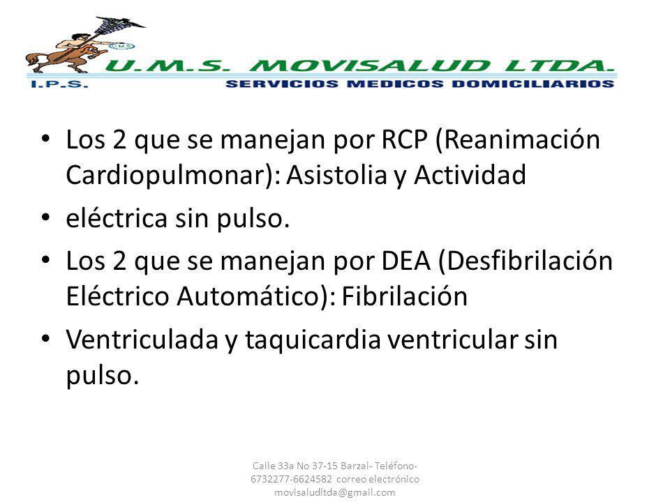 Ventriculada y taquicardia ventricular sin pulso.