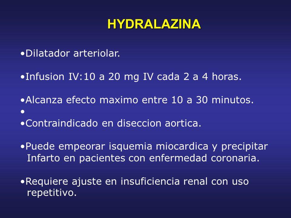 HYDRALAZINA Dilatador arteriolar.