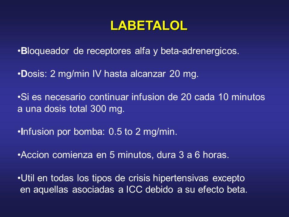 LABETALOL Bloqueador de receptores alfa y beta-adrenergicos.