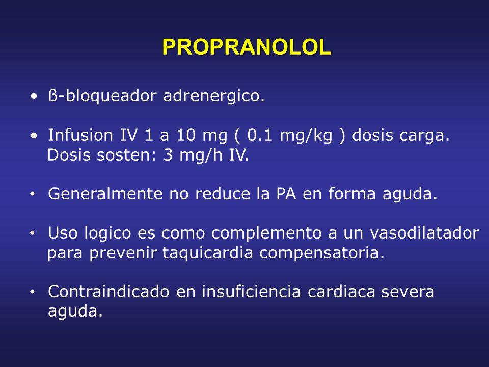 PROPRANOLOL ß-bloqueador adrenergico.