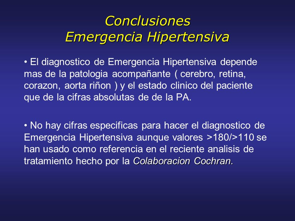 Conclusiones Emergencia Hipertensiva