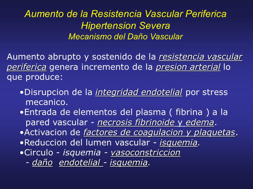 Aumento de la Resistencia Vascular Periferica Hipertension Severa