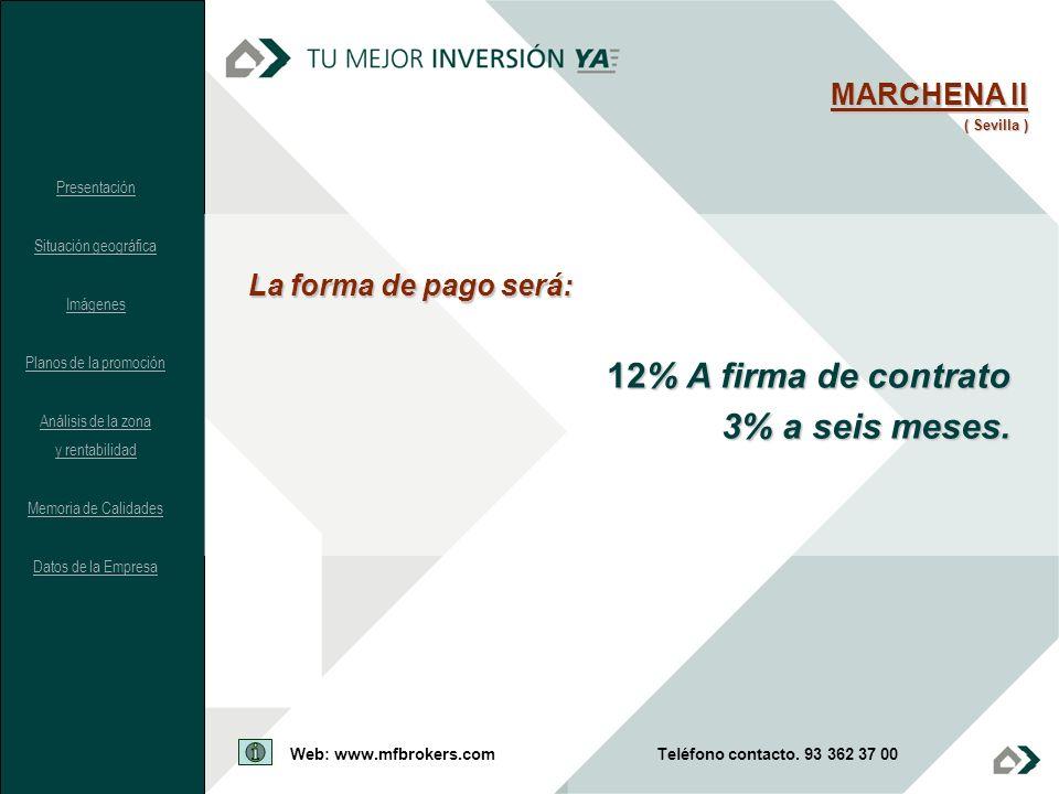 12% A firma de contrato 3% a seis meses. MARCHENA II