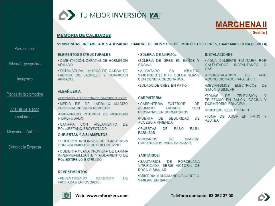 MARCHENA II MEMORIA DE CALIDADES Presentación Situación geográfica