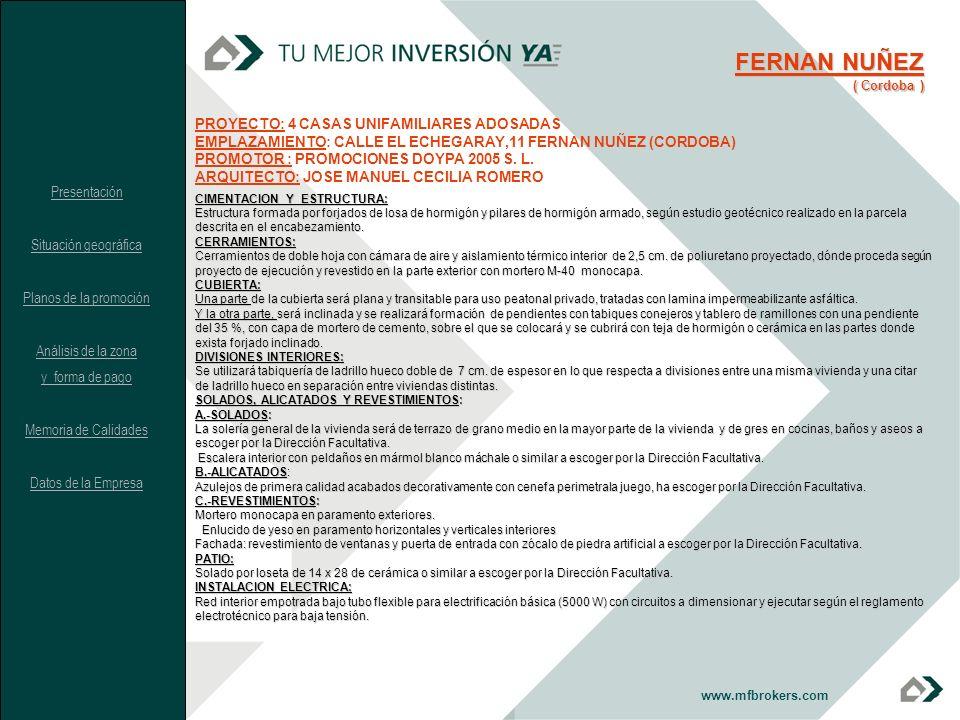 FERNAN NUÑEZ PROYECTO: 4 CASAS UNIFAMILIARES ADOSADAS