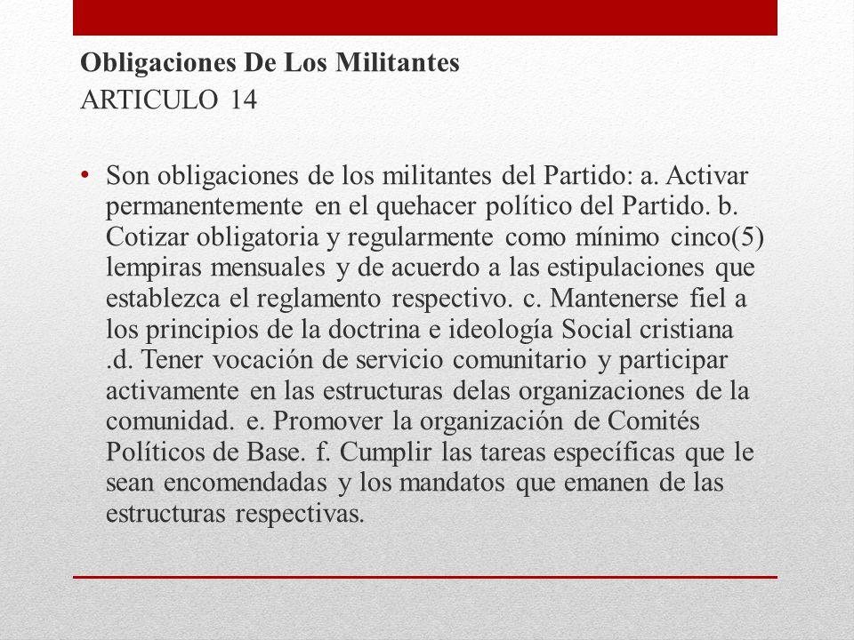 Obligaciones De Los Militantes