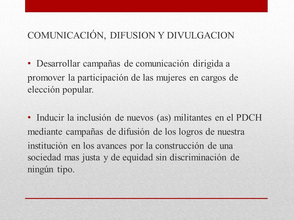 COMUNICACIÓN, DIFUSION Y DIVULGACION
