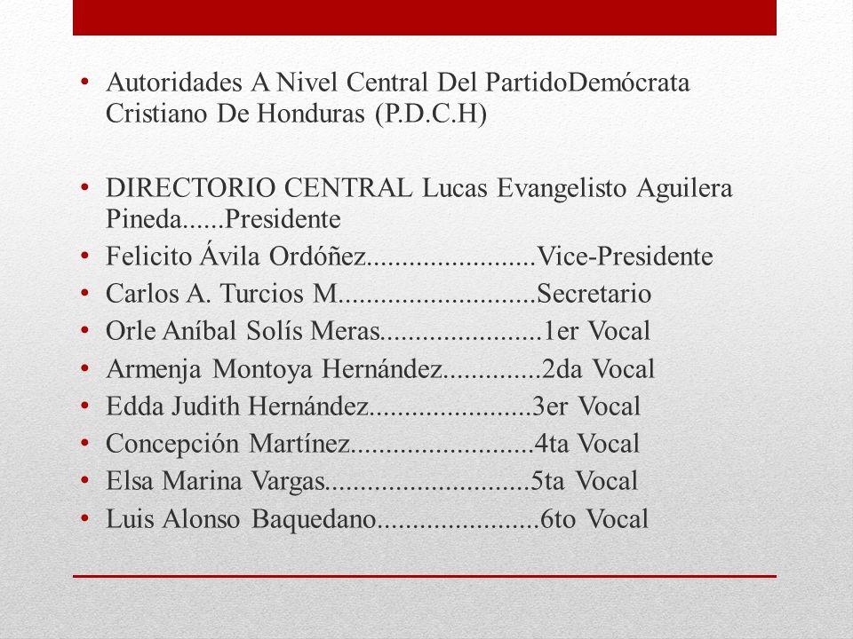 Autoridades A Nivel Central Del PartidoDemócrata Cristiano De Honduras (P.D.C.H)