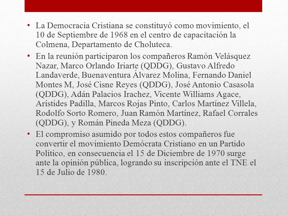 La Democracia Cristiana se constituyó como movimiento, el 10 de Septiembre de 1968 en el centro de capacitación la Colmena, Departamento de Choluteca.