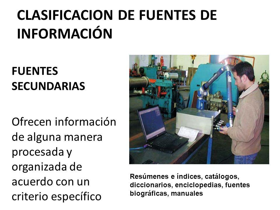 CLASIFICACION DE FUENTES DE INFORMACIÓN
