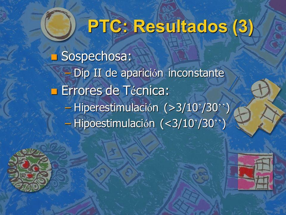 PTC: Resultados (3) Sospechosa: Errores de Técnica: