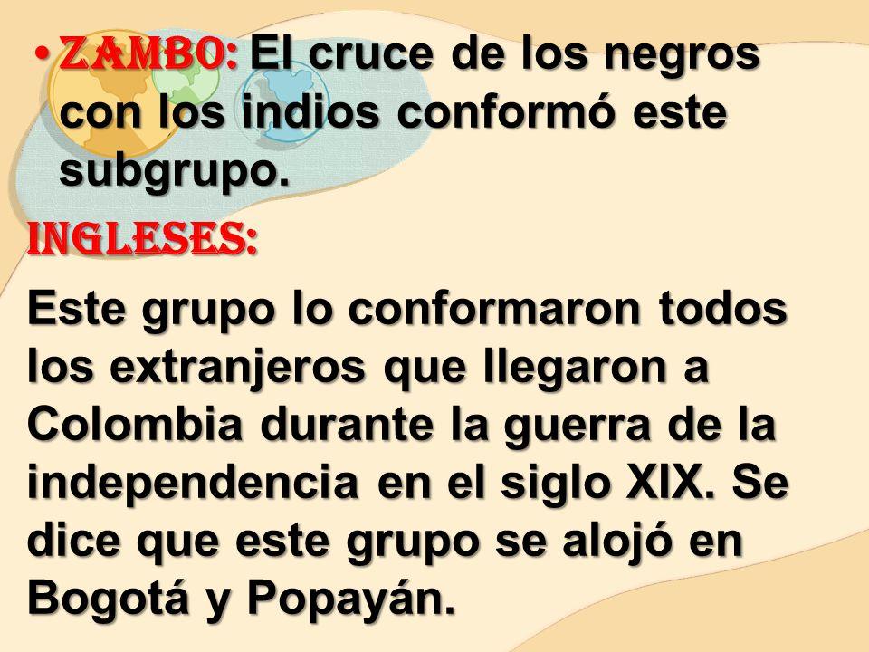 Zambo: El cruce de los negros con los indios conformó este subgrupo.
